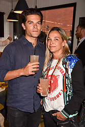 Simon Plunket and Cordelia Plunket at a party to celebrate the launch of Hans' Bar & Grill, 11 Cadogan Gardens, Chelsea, London, England. 07 June 2018.