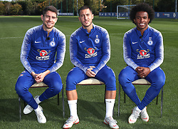 Chelsea's Jorginho (left), Eden Hazard and Willian (right) take part in various challenges set by William Hill at Chelsea Cobham Training complex.