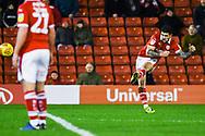 Alex Mowatt of Barnsley (27) shoots from a free kick during the EFL Sky Bet League 1 match between Barnsley and Bradford City at Oakwell, Barnsley, England on 12 January 2019.