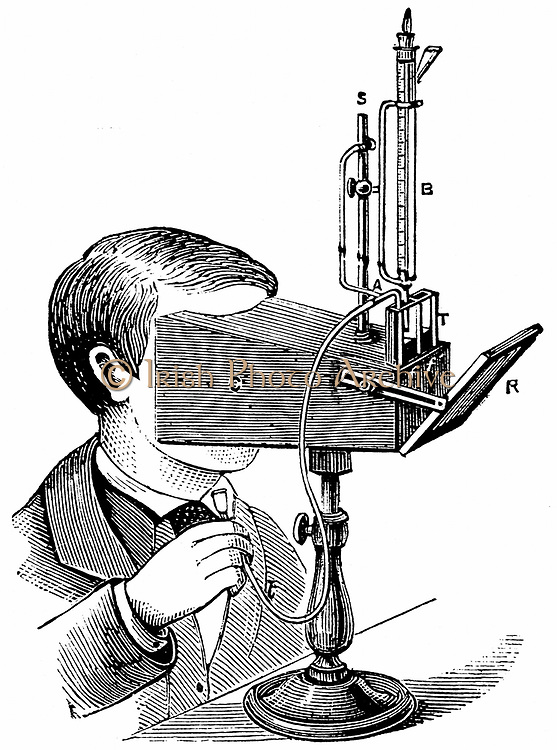 Colorimeter, after design by Labilliardiere with modifications by Salleron. The intensities of two liquids in glass tubes are made equal by adding water to the stringer and measuring the water added.  Instrument used in chemical analysis to compare with s