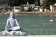 India, Uttarakhand, Rishikesh, Shiva Statue on the Ganges River, Shiva Statue