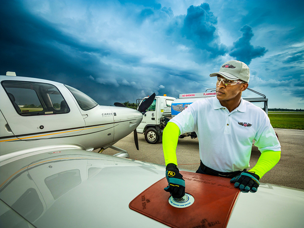Fueling an aircraft at Opa-locka Executive Airport. Commissioned as advertising for Phillips 66 Aviation Fuels.<br />