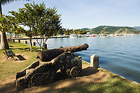 gun in the harbour of the beautiful portuguese colonial typical town of parati in rio de janeiro state brazil