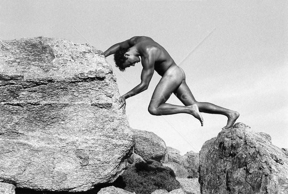 Male nude in Nature, Mykonos, Greece