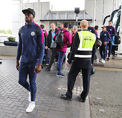 Eliaquim Mangala as the Manchester City team arrive at Manchester Airport as they jet for Iceland