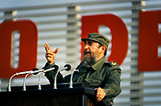 Fidel Castro giving a speech for 3 hours to thousands of supporters, July 26th 1984, Revolution Square, Havanna, Cuba. The speech was to commemorate the 25th anniversery of the revolution. Fidel Alejandro Castro Ruz was a Cuban revolutionary and politician who governed the Republic of Cuba as Prime Minister from 1959 to 1976 and then as President from 1976 to 2008. He was loved by most of the people as a champion of socialism and anti-imperialism whose revolutionary regime advanced economic and social justice while securing Cubas independence from American imperialism.