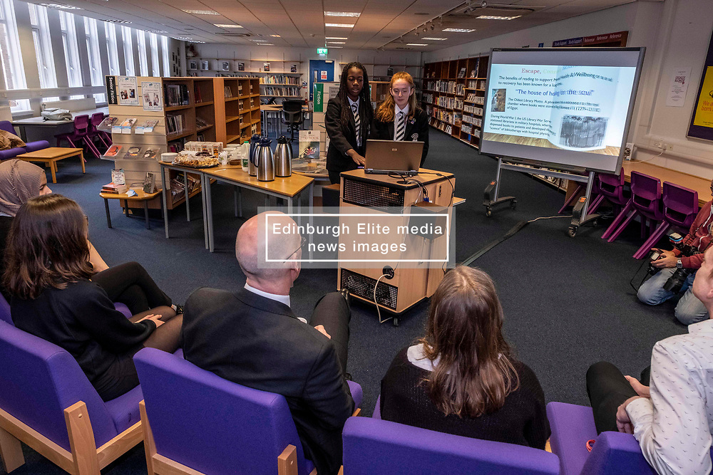 Pictured: Grace Read and Tatiana Honeywell explained the project to Mr Swinney<br /><br />The Deputy First Minister and Education Secretary visited the Royal High School in Edinburgh today and met students and staff to learn about a school library project aimed at tackling mental health issues.<br /><br />Ger Harley | EEm 10 October 2019