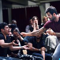 Nederland,  Amsterdam, 27 mei 2014.<br /> Heftige emoties tijdens het jongeren debat onder leiding van Arie Boomsma in de Rode Hoed aan de Keizersgracht met als thema rascisme.<br /> <br /> Foto:Jean-Pierre Jans