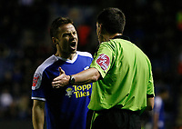 Photo: Steve Bond/Richard Lane Photography. Leicester City v Peterborough United. Coca-Cola Football League One. 20/12/2008. Andrew Dickov (L) argues with ref Lee Probert