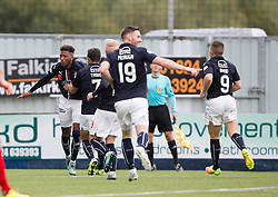 Falkirk's Myles Hippolyte celebrates after scoring their second goal. Falkirk 2 v 1 Dunfermline, Scottish Championship game played 15/10/2016, at The Falkirk Stadium.