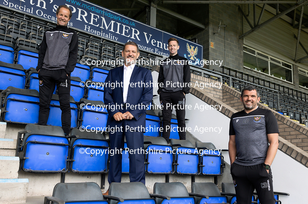 St Johnstone Management Team.…….22.06.20<br />Chairman Steve Brown pictured with the new St Johnstone management team, manager Callum Davidson and coaches Alec Cleland and Steven MacLean.<br />Picture by Graeme Hart.<br />Copyright Perthshire Picture Agency<br />Tel: 01738 623350  Mobile: 07990 594431