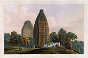 Hindoo Temples at Bindrabund on the River Jumna From the book ' Oriental scenery: one hundred and fifty views of the architecture, antiquities and landscape scenery of Hindoostan ' by Thomas Daniell, and William Daniell, Published in London by the Authors January 1, 1812