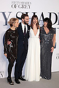 Feb 12, 2015 - 'Fifty Shades of Grey' UK Premiere - Red Carpet Arrivals at Odeon, Leicester Square<br /> <br /> Pictured: (L-R) Director Sam Taylor-Johnson, actors Jamie Dornan, Dakota Johnson and author E.L. James<br /> ©Exclusivepix Media