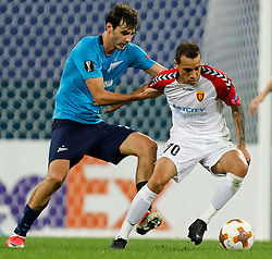 November 23, 2017 - Saint Petersburg, Russia - Aleksandr Erokhin (L) of FC Zenit Saint Petersburg and Juan Felipe Ribeiro of FK Vardar vie for the ball during the UEFA Europa League Group L match between FC Zenit St. Petersburg and FK Vardar at Saint Petersburg Stadium on November 23, 2017 in Saint Petersburg, Russia. (Credit Image: © Mike Kireev/NurPhoto via ZUMA Press)