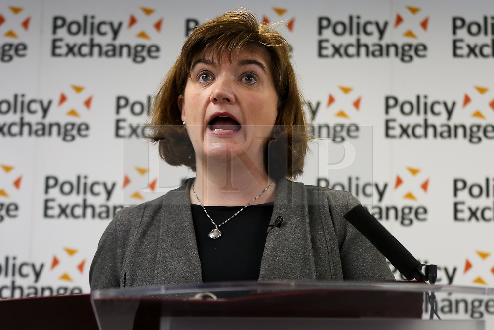 © Licensed to London News Pictures. 05/02/2020. London, UK. Secretary of State for Digital, Culture, Media and Sport, BARONESS NICKY MORGAN speaks at a Policy Exchange eventin Westminster on the 'The Future of Media and Broadcasting'. Photo credit: Dinendra Haria/LNP