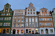 Early morning, in the Old Town Square, Wroclaw, Poland.