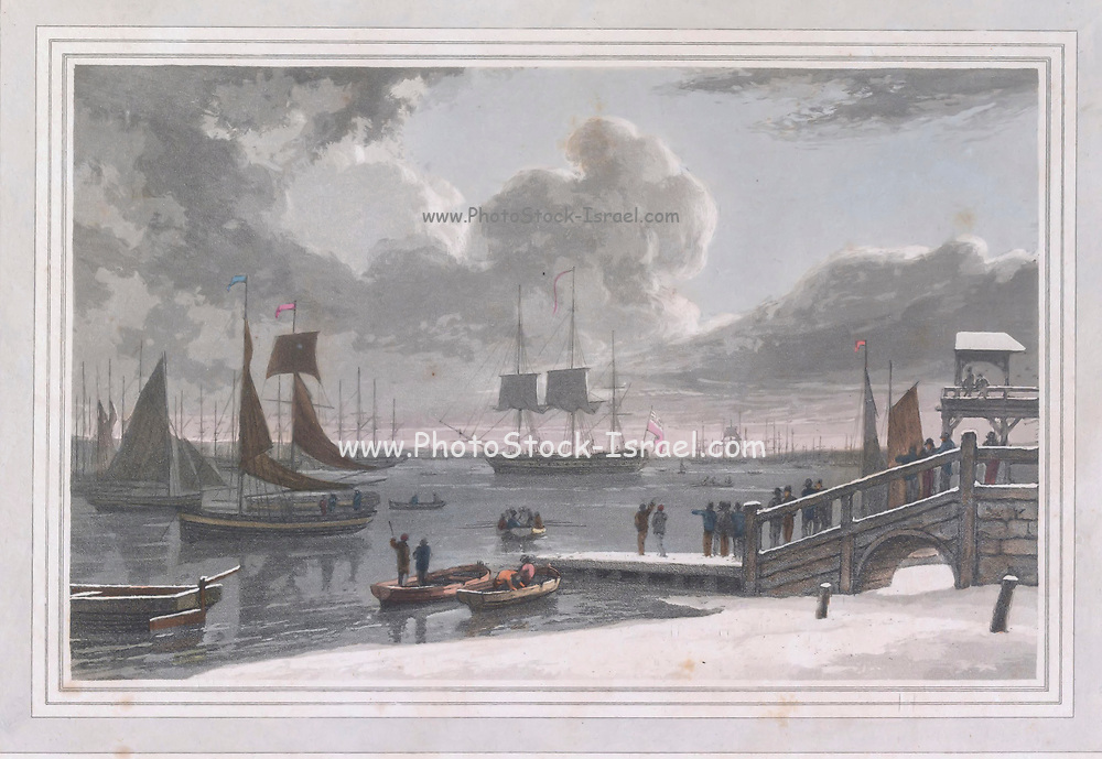 Gravesend is a town in northwest Kent, England, situated 21 miles (35 km) east-southeast of Charing Cross (central London) on the south bank of the River Thames. colour print from the book ' A Picturesque Voyage to India by Way of China  ' by Thomas Daniell, R.A. and William Daniell, A.R.A. London : Printed for Longman, Hurst, Rees, and Orme, and William Daniell by Thomas Davison, 1810. The Daniells' original watercolors for the scenes depicted herein are now at the Yale Center for British Art, Department of Rare Books and Manuscripts,