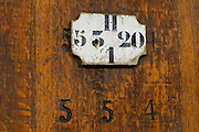 sign on tank domaine roger sabon chateauneuf du pape rhone france
