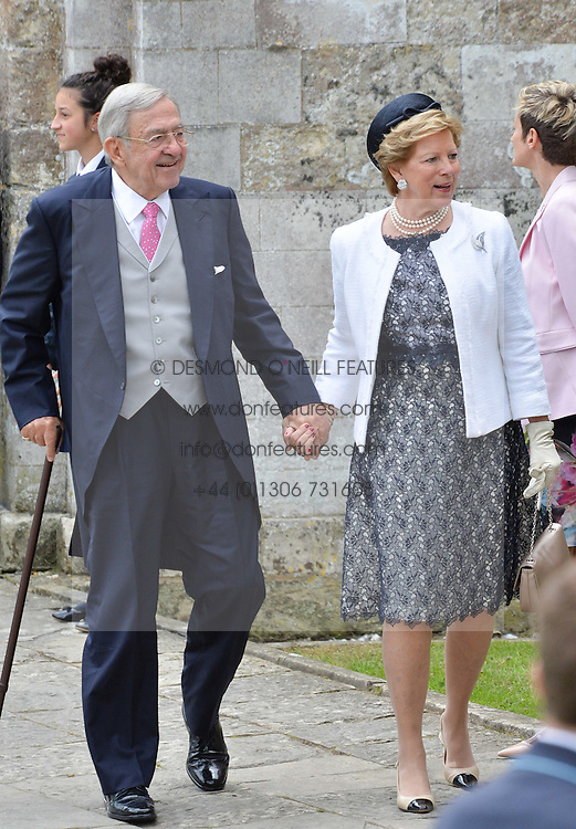 Ex King Constantine II of Greeceand wife Queen Anne-Marie of Greece at the wedding of the Hon.Alexandra Knatchbull to Thomas Hooper held at Romsey Abbey, Romsey, Hampshire on 25th June 2016