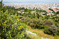 Athens, Greece. View from Areopagus below the Acropolis.  With the Temple of Hephaestus and Stoa of Attalos.