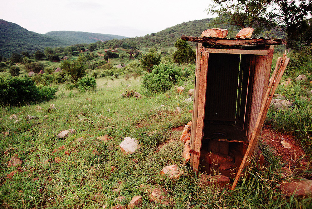 Tshamulavhu Village wooden outhouse in rural Northern Transvaal (Venda), South Africa.