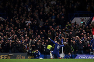 Alvaro Morata of Chelsea celebrates with the Chelsea fans after he scores his teams 1st goal . Premier league match, Chelsea v Manchester United at Stamford Bridge in London on Sunday 5th November 2017.<br /> pic by Kieran Clarke, Andrew Orchard sports photography.