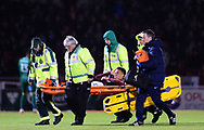Shaun McWilliams of Northampton Town is stretchered off the field by medics after a serious injury. EFL Skybet Football League one match, Northampton Town v Portsmouth at the Sixfields Stadium in Northampton on Tuesday 12th September 2017. <br /> pic by Bradley Collyer, Andrew Orchard sports photography.