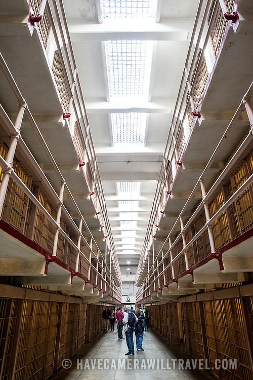 Inside the cell block where the inmate's cells were in Alcatraz prison on Alcatraz Island in San Francisco Bay.