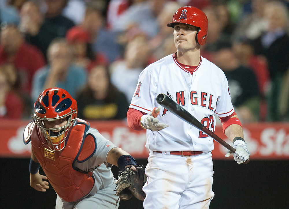 The Cardinals' Yadier Molina makes sure the Angels' Brendan Ryan is out after he struck out swinging to end the fifth inning Wednesday night at Angel Stadium.<br /> <br /> ///ADDITIONAL INFO:   <br /> <br /> angels.0512.kjs  ---  Photo by KEVIN SULLIVAN / Orange County Register  --  5/11/16<br /> <br /> The Los Angeles Angels take on the St. Louis Cardinals at Angel Stadium Wednesday.<br /> <br />  5/11/16