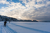 Norway, Stavanger. Skiing on Store Stokkavatn, close to the center of Stavanger.