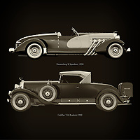 For the lover of old classic cars, this combination of a Duesenberg SJ Speedster  1933 and Cadillac V16 Roadster 1930 is truly a beautiful work to have in your home.<br /> The classic Duesenberg SJ Speedster and the beautiful Cadillac V16 are among the most beautiful cars ever built.<br /> You can have this work printed in various materials and without loss of quality in all formats.<br /> For the oldtimer enthusiast, the series by the artist Jan Keteleer is a dream come true. The artist has made a fine selection of the very finest cars which he has meticulously painted down to the smallest detail. – –<br /> -<br /> <br /> BUY THIS PRINT AT<br /> <br /> FINE ART AMERICA<br /> ENGLISH<br /> https://janke.pixels.com/featured/duesenberg-sj-speedster-1933-and-cadillac-v16-roadster-1930-jan-keteleer.html<br /> <br /> WADM / OH MY PRINTS<br /> DUTCH / FRENCH / GERMAN<br /> https://www.werkaandemuur.nl/nl/shopwerk/Duesenberg-SJ-Speedster-1933-en-Cadillac-V16-Roadster-1930/755157/132?mediumId=1&size=60x60<br /> –