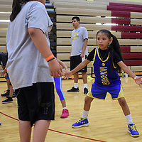 Kandace Bitsie, working on a defensive drill in the gym at Rehoboth Christian School, Wednesday July 18 at the True Hoops Basketball Camp.