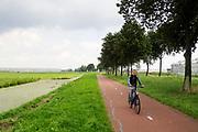 In Berkel en Rodenrijs rijden fietsers door het polderlandschap langs weilanden en bloemenkassen.<br /> <br /> In Berkel en Rodenrijs cyclists pass the pastures and greenhouses.