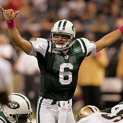 2009 October 04: New York Jets quarterback Mark Sanchez (6) under center during the first half of a week four regular season game between the New Orleans Saints and the New York Jets at the Louisiana Superdome in New Orleans, Louisiana.