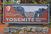 National Park entrance sign, Yosemite National Park, California