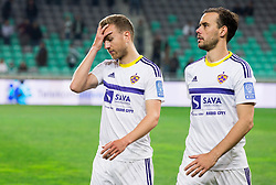 Ales Mertelj of Maribor and Rodrigo Defendi of Maribor after the 1st Leg football match between NK Olimpija Ljubljana and NK Maribor in Semifinal of Slovenian Football Cup 2016/17, on April 5, 2017 in SRC Stozice, Ljubljana, Slovenia. Photo by Vid Ponikvar / Sportida