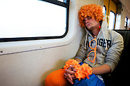 Dutch supporters at the world cup soccer in South Africa<br /> Oranjesupporter in de trein in Zuid-Afrika