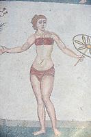 Italie, Sicile, Piazza Armerina, Villa Romana del Casale, mosaiques des jeunes filles en Bikini, Patrimoine Unesco // Italy, sicily, Piazza Armerina, Villa Romana del Casale, mosaics, bikini girls, Unesco World Heritage