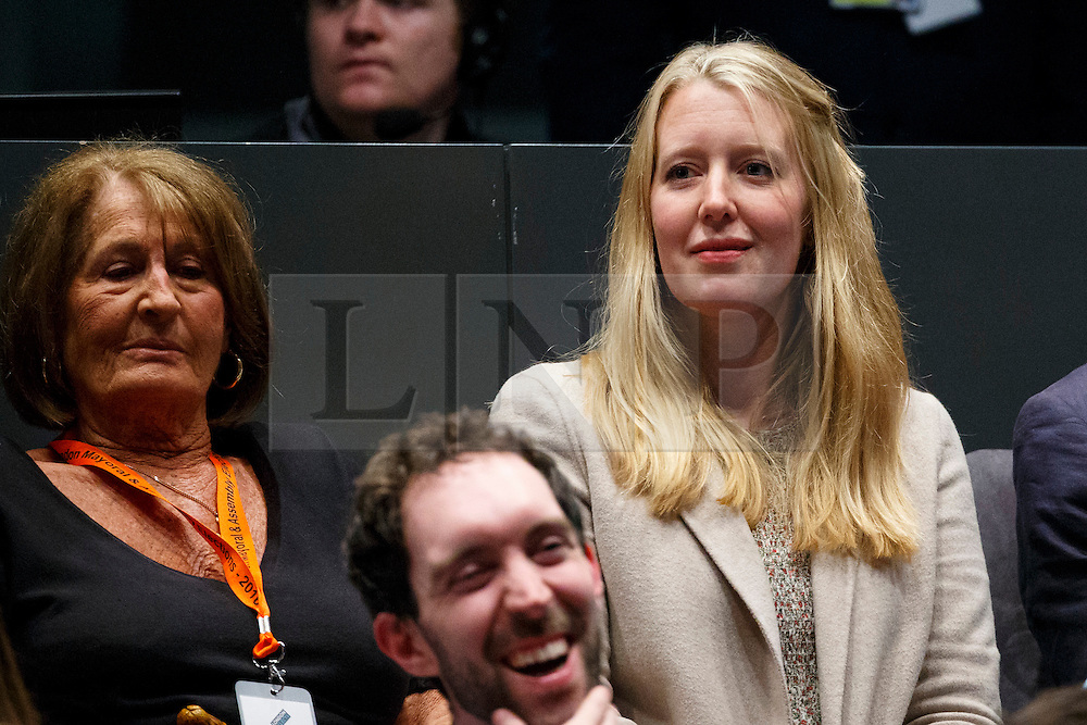 © Licensed to London News Pictures. 07/05/2016. London, UK. Zac Goldsmith's  mother Lady Annabel Goldsmith and Zac Goldsmith's wife Alice Miranda Rothschild watching London Mayoral candidates reacting to announcement of the election results at City Hall in London on Saturday, 7 May 2016. Labour MP Sadiq Khan has declared his victory and accused his Conservative counterpart, Zac Goldsmith MP of using underhand tactics during the campaign. Photo credit: Tolga Akmen/LNP
