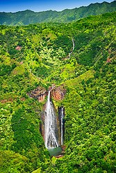 Manawaiopuna Falls, featured in the movie, Jurassic Park, Kauai, Hawaii