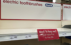 "© Licensed to London News Pictures. 24/09/2020. London, UK. An empty shelf of electric toothbrushes in a Wilko supermarket in London, as essential items start to run out, amid a possible second lockdown due to a rise in COVID-19 cases. Foreign Secretary, DOMINIC RAAB has said that, a second national lockdown could be needed if the latest coronavirus restrictions do not work but the government will ""take every effort to avoid that"". Photo credit: Dinendra Haria/LNP"