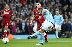 Manchester City's Gabriel Jesus scores his side's first goal of the game during the UEFA Champions League, Quarter Final at the Etihad Stadium, Manchester.