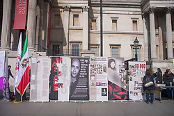 April 3, 2017 - London, United Kingdom - Demonstration to remember the '1988 executions of political prisoners in Iran' is pictured in Trafalgar Square, London on April 3, 2017. 1988 executions of political prisoners in Iran, refers to the state-sponsored execution of political prisoners across Iran. They started on 19 July 1988 and lasted for approximately five months and caused the death of approximately 30.000 people. (Credit Image: © Alberto Pezzali/NurPhoto via ZUMA Press)