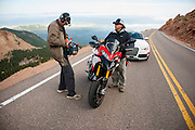 Ducati and Audi private video/photoshoot on Pikes Peak before Pikes Peak Hill Climb 2012. Photos and video fro Social Media campaign #Cometogether and makes the first time Audi and Ducati have been showcased together since Audi bought the Italian motorcycle company.