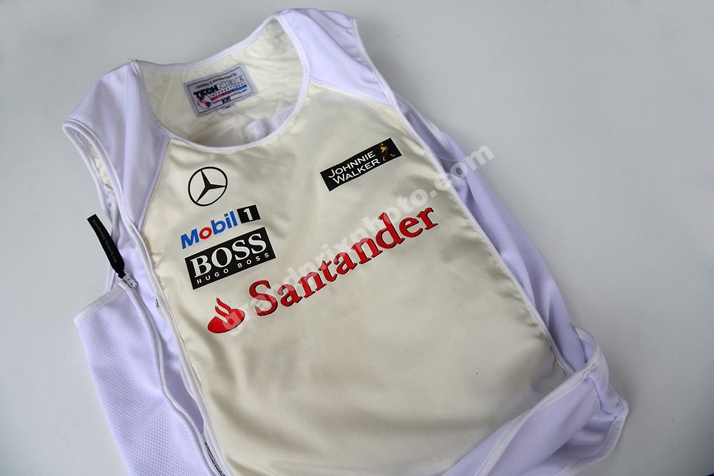 Kevin Magnussen (McLaren-Mercedes) cooling vest for the 2014 Malaysian Grand Prix in Sepang outside Kuala Lumpur. Photo: Grand Prix Photo