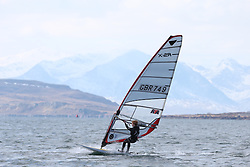Day 1 of the RYA Youth National Championships 2013 held at Largs Sailing Club, Scotland from the 31st March - 5th April. .RS X - 749, Robert YORK, Covenham\..For Further Information Contact..Matt Carter.Racing Communications Officer.Royal Yachting Association.M: 07769 505203.E: matt.carter@rya.org.uk ..Image Credit Marc Turner / RYA..