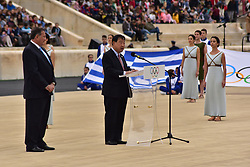 October 31, 2017 - Athens, Attiki, Greece - President of the Organising Committee for the XXIII Winter Olympics Games 'PYEONGCHANG 2018' Lee Hee Beom, during his speech. The Handover Ceremony of the Olympic Flame for Winter Games PYEONGCHANG 2018, took place today in Panathenaic Stadium in the presence of the President of Hellenic Republic Prokopis Pavlopoulos. (Credit Image: © Dimitrios Karvountzis/Pacific Press via ZUMA Wire)