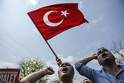 June 15, 2017 - Istanbul, Turkey - Supporters of Turkey's pro-secular Republican People's Party, CHP, chant slogans as they gather for a protest in Istanbul, Thursday, June 15, 2017. Turkey's main opposition party has started a 400-km (250-mile) march from the capital Ankara to an Istanbul prison to protest the imprisonment of one of its parliamentarians, Enis Berberoglu who was convicted to 25 years in prison for revealing state secrets. (Credit Image: © Can Erok/Depo Photos via ZUMA Wire)