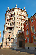West entrance and exterior of the octagonal  Romanesque Baptistery of Parma, circa 1196, (Battistero di Parma), Italy