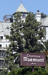 Jun 04, 2006; Hollywood, CA, USA;  The Chateau Marmont has been a long time celebrity hotel favorite. Situated atop a hill and hidden by thick foliage, Marmont's lure is the feeling of seclusion, which is why everyone from Bogart to DeNiro has taken up residence. The French countryside-like castle mixes design elements from various periods - gothic arches, mid-century George Nelson lamps, art deco seating - for a highly eclectic vibe. Hotelier Andre Balazs' renovation during the early '90s removed a layer of shabbiness and restored the original bohemian veneer (Credit Image: © Marianna Day Massey/ZUMAPRESS.com)